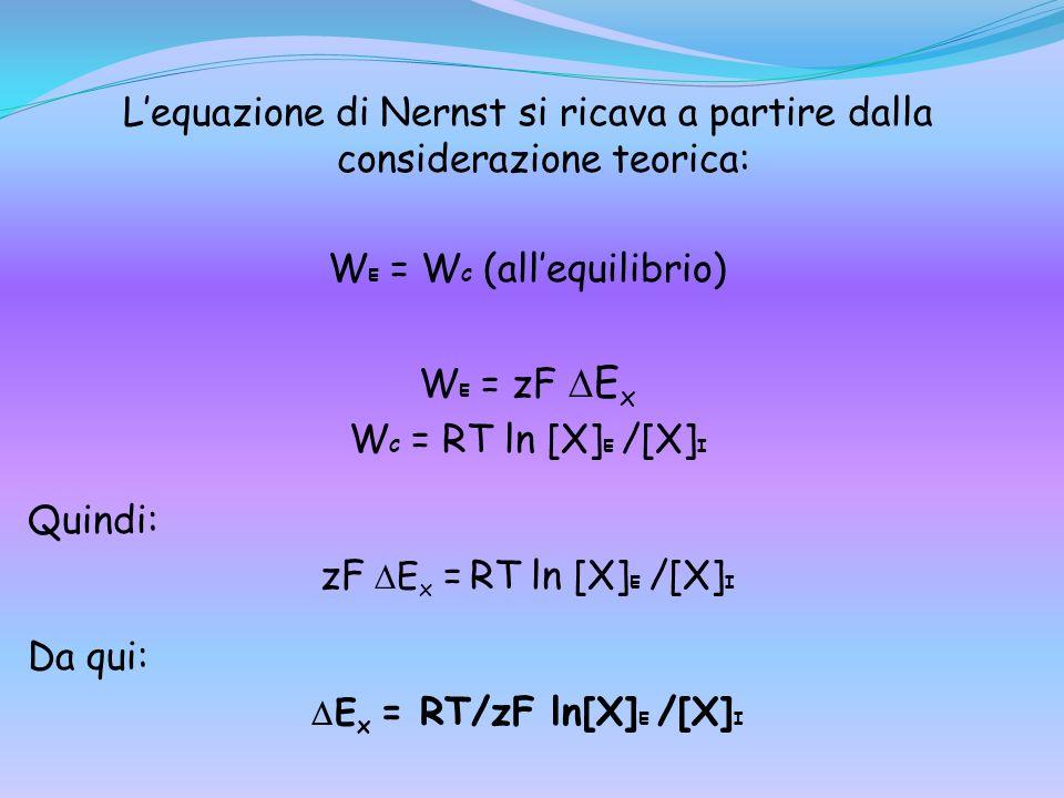 Ex = RT/zF ln[X]E /[X]I